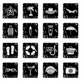 Summer rest icons set Stock Images