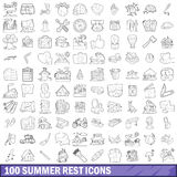 100 summer rest icons set, outline style. 100 summer rest icons set in outline style for any design vector illustration royalty free illustration