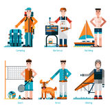 Summer Rest Icons. Set with people camping yachting and gliding  vector illustration Stock Photography