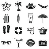 Summer rest icons set, simple style Royalty Free Stock Image