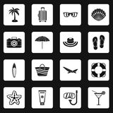 Summer rest icons set squares vector Stock Photos