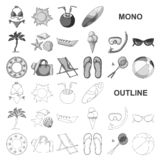 Summer rest monochrom icons in set collection for design. Beach accessory vector symbol stock web illustration. Summer rest monochrom icons in set collection stock illustration