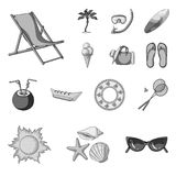 Summer rest monochrome icons in set collection for design. Beach accessory vector symbol stock web illustration. Summer rest monochrome icons in set collection Royalty Free Stock Photo