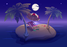 Summer rest. Romantic night on tropical island under palm trees Stock Photos