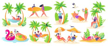 Summer vacation theme. Outdoor activity and rest on the beach. royalty free illustration