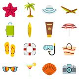 Summer rest set flat icons Royalty Free Stock Images