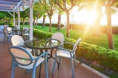 Summer restaurant on the Mediterranean coast on a beautiful sunset. Tekirova-Kemer Royalty Free Stock Image