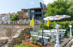 Summer restaurant next to the historic ruins of old Nessebar, Bulgaria Royalty Free Stock Photo