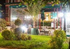Summer restaurant in the night Pomorie in Bulgaria stock images