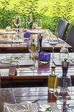 Summer restaurant tables Royalty Free Stock Photos