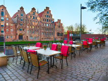 Summer restaurant at Trave river in the old town Lubeck. Germany Stock Photography