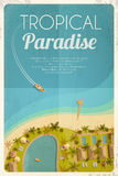 Summer retro background with tropical hotel and motorboat. Vector illustration, eps10. Royalty Free Stock Photo