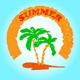 Summer Retro Banner with Palm Tree. Color Stock Photos