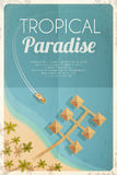 Summer retro beach background with palms and bungalows. Vector illustration, eps10. Stock Image