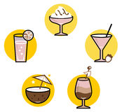 Summer retro cocktails set Royalty Free Stock Images