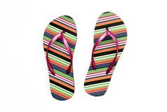 Summer Retro Flip Flop Sandals. With colorful stripes striped design Stock Photos