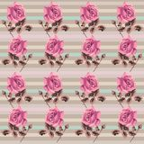 Summer retro floral seamless pattern (roses) in the style shabby Chic, provence, boho. Stock Photography
