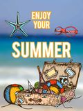Summer retro hand drawn design card Royalty Free Stock Photography