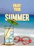 Summer retro hand drawn design card Stock Images