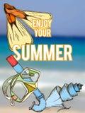 Summer retro hand drawn design card Stock Image