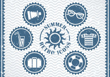 Summer retro icons Royalty Free Stock Photography