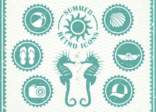 Summer retro icons Stock Photos