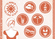 Summer retro icons Stock Images