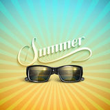 Summer retro label with sunglasses Stock Photography