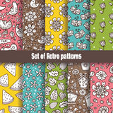 Summer Retro pattern collection. Royalty Free Stock Photos