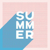 Summer retro poster banner with polka dot or halftone vintage vector design and long shadow creative typography. Stock Photos