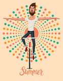 Summer retro poster with man riding a bike without holding the handlebars. Vector illustration. Royalty Free Stock Photos