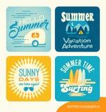 Summer retro typography designs Royalty Free Stock Image