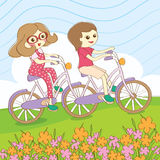 Summer ride bicycle. With friend Royalty Free Stock Photos
