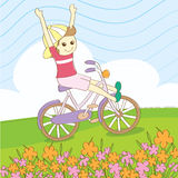 Summer ride bicycle. With friend Royalty Free Stock Photo