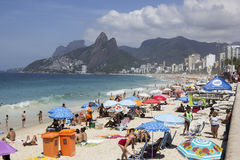 Summer in Rio has crowded beaches and enhanced policing Royalty Free Stock Images
