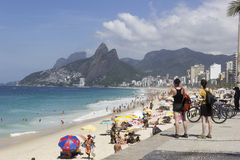 Summer in Rio has crowded beaches and enhanced policing Stock Image
