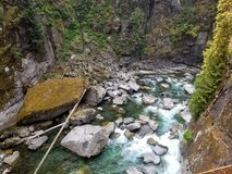 Summer river. Forgotten river , used for mining stock image