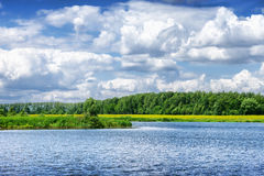 Summer river landscape in cloudy day Royalty Free Stock Photos