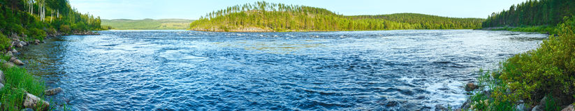Summer river panorama (Sweden) Royalty Free Stock Images