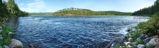 Summer river panorama (Sweden). Stock Image