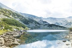 Beautiful Mountain Landscape  with Blue Lake. Summer river in Pirin mountain,Bulgaria.Hills with Pines Stock Image
