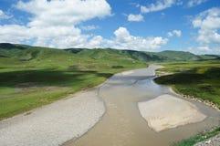Summer river  under blue sky Stock Photos