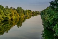 Summer riverside and green forest landscape. royalty free stock image