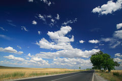 Summer road. Summer scenery with road and clouds Stock Images