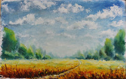 Summer road through field, clouds, green trees, oil painting. Original oil painting summer road through field, clouds, green trees on canvas. Impasto artwork Royalty Free Stock Images