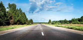 Summer road. Highway move forward direction background royalty free stock image