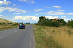 Summer road moving car Royalty Free Stock Photography