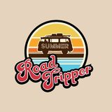Summer road tripper slogan, typography, tee shirt graphic, printed design. Vector design for t-shirt printing and embroidery apparel stock illustration
