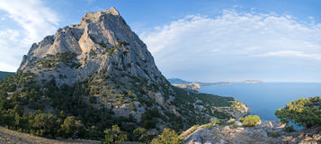 Summer rock and coastline landscape panorama Stock Photo