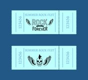 Summer Rock Fest Collection of Tickets on Blue Royalty Free Stock Images